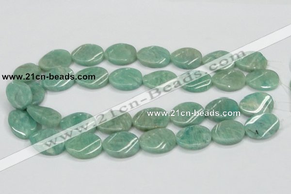 CAM414 15.5 inches 18*25mm twisted oval natural russian amazonite beads