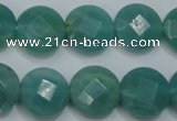 CAM942 15.5 inches 14mm faceted coin amazonite gemstone beads