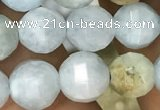 CAQ826 15.5 inches 8mm faceted round natural aquamarine beads