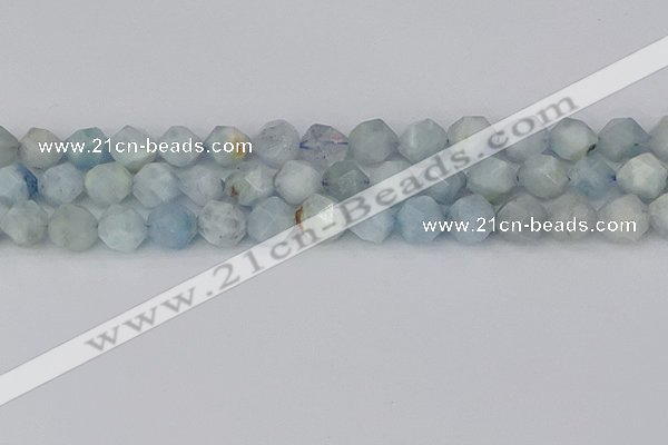 CAQ834 15.5 inches 12mm faceted nuggets aquamarine beads
