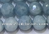 CAQ871 15.5 inches 8mmm faceted round aquamarine beads wholesale
