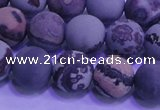 CAR303 15.5 inches 10mm round matte red artistic jasper beads