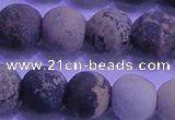 CAR66 15.5 inches 16mm round matte yellow artistic jasper beads