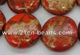 CAT195 15.5 inches 25mm flat round dyed natural aqua terra jasper beads