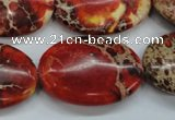 CAT204 15.5 inches 22*30mm oval dyed natural aqua terra jasper beads