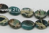 CAT5011 15.5 inches 10*14mm oval natural aqua terra jasper beads