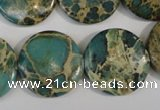 CAT5032 15.5 inches 22mm flat round natural aqua terra jasper beads