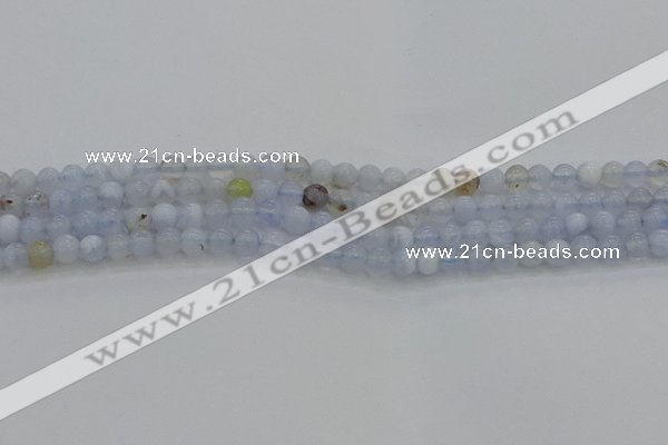 CBC460 15.5 inches 4mm round blue chalcedony gemstone beads