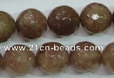 CBQ216 15.5 inches 16mm faceted round strawberry quartz beads