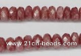 CBQ265 15.5 inches 5*10mm faceted rondelle strawberry quartz beads