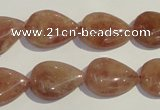 CBQ27 15.5 inches 13*18mm flat teardrop strawberry quartz beads