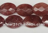 CBQ279 15.5 inches 15*20mm faceted oval strawberry quartz beads
