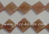 CBQ32 15.5 inches 12*12mm diamond strawberry quartz beads wholesale