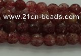 CBQ330 15.5 inches 4mm faceted round strawberry quartz beads