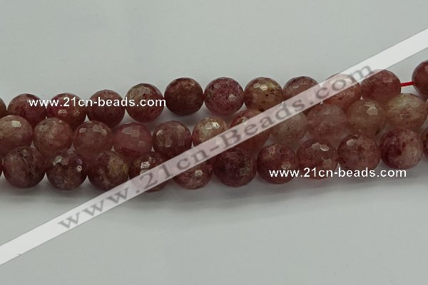 CBQ335 15.5 inches 14mm faceted round strawberry quartz beads