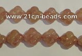 CBQ36 15.5 inches 11mm carved flower strawberry quartz beads