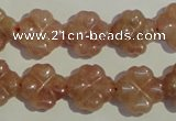 CBQ37 15.5 inches 15mm carved flower strawberry quartz beads