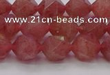 CBQ433 15.5 inches 10mm faceted nuggets strawberry quartz beads