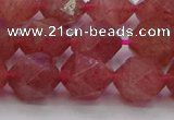 CBQ434 15.5 inches 12mm faceted nuggets strawberry quartz beads