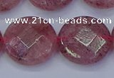 CBQ464 15.5 inches 20mm faceted coin strawberry quartz beads