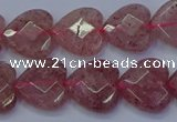 CBQ468 15.5 inches 10mm faceted heart strawberry quartz beads
