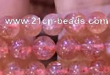 CBQ558 15.5 inches 4mm round golden strawberry quartz beads