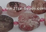 CBQ671 15.5 inches 13*18mm flat teardrop matte strawberry quartz beads