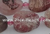 CBQ672 15.5 inches 15*20mm flat teardrop matte strawberry quartz beads