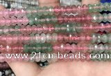 CBQ715 15.5 inches 4*6mm faceted rondelle mixed strawberry quartz beads