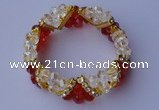 CBR60 5pcs imitation Swarovski crystal & threaded pearl beads bracelet