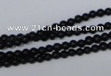 CBS01 15.5 inches 4mm round black stone beads wholesale