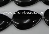 CBS268 15.5 inches 20*30mm flat teardrop blackstone beads wholesale