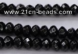 CBS508 15.5 inches 4*6mm faceted rondelle A grade black spinel beads