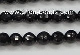 CBS556 15.5 inches 6mm faceted round AA grade black spinel beads