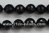 CBS557 15.5 inches 8mm faceted round AA grade black spinel beads