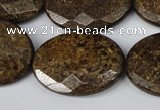 CBZ440 15.5 inches 22*30mm faceted oval bronzite gemstone beads