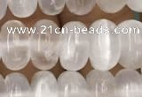 CCA368 15.5 inches 6*10mm rondelle white calcite gemstone beads
