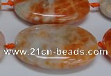 CCA487 15.5 inches 25*35mm oval orange calcite gemstone beads