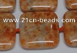 CCA494 15.5 inches 25mm square orange calcite gemstone beads