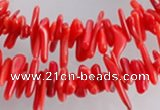 CCB02 15.5 inch 2*8mm irregular branch red coral beads Wholesale