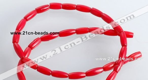 CCB04 15.5 inches 5*10mm tube shape red coral beads Wholesale
