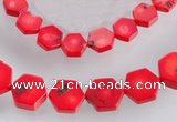CCB10 5pcs 15.5 inches 9mm & 12mm hexagon red coral beads Wholesale