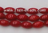CCB135 15.5 inches 5*8mm rice red coral beads strand wholesale