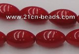 CCB138 15.5 inches 7*11mm rice red coral beads strand wholesale