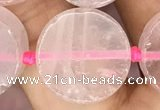 CCB502 15.5 inches 16mm coin rose quartz beads wholesale