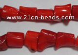 CCB52 15.5 inches 9*13mm irregular red coral beads Wholesale