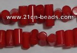 CCB53 15.5 inches 6*9mm column red coral beads Wholesale