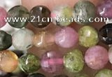 CCB545 15.5 inches 4mm faceted coin tourmaline gemstone beads