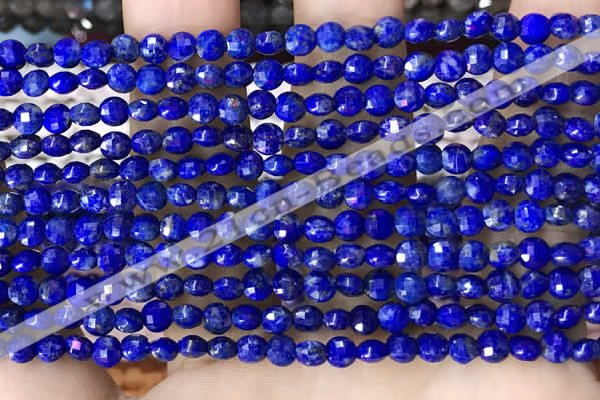 CCB554 15.5 inches 4mm faceted coin lapis lazuli beads wholesale