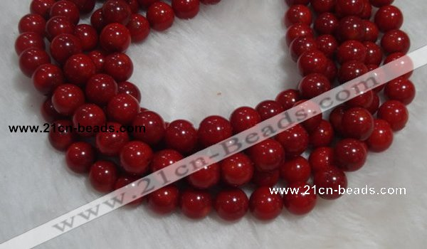 CCB56 15.5 inches 9-10mm round red coral beads Wholesale